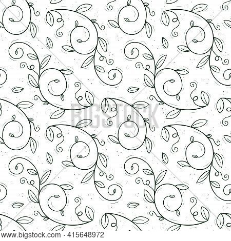 Seamless Repeating Pattern Of A Climbing Plant Such As Peas Or Creepers With Tendrils And Leaves.con