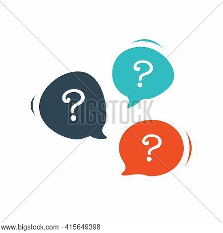 Three Chat Speech Message Bubbles With Question Marks. Forum Faq Icon. Communication Concept. Stock