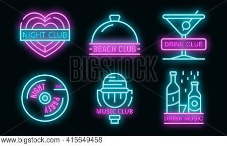 Nightclub Logo Set. Outline Set Of Nightclub Vector Logo Neon Color On Black