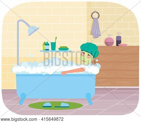 Girl With Mask On Her Face Is Taking Bath. Woman Lying In Bathtub With Hot Water In Bathroom