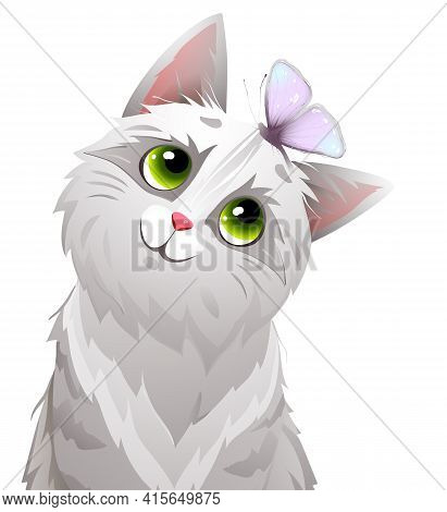 Cat Or Kitten With Butterfly On Head, Funny Fluffy And Curious Playing Kitten Mascot. Cute Cat Vecto
