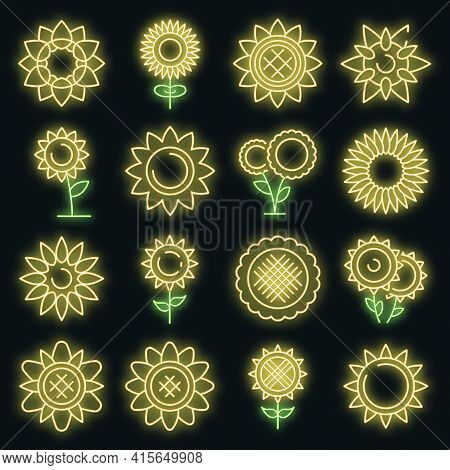 Sunflower Icons Set. Outline Set Of Sunflower Vector Icons Neon Color On Black