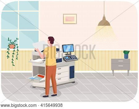 Young Professional Man Working In Typography At Print To Printer. Print House Worker Use Equipment
