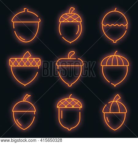 Acorn Icons Set. Outline Set Of Acorn Vector Icons Neon Color On Black