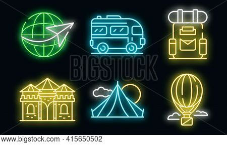 Excursion Icons Set. Outline Set Of Excursion Vector Icons Neon Color On Black