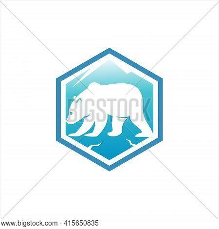 Cartoon Polar Bear Logo Badge Design Wild Animal Vector Element Or Nature And Fauna Icon Template