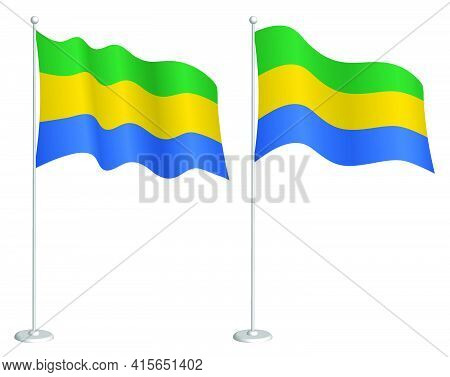 Flag Of Gabon On Flagpole Waving In Wind. Holiday Design Element. Checkpoint For Map Symbols. Isolat
