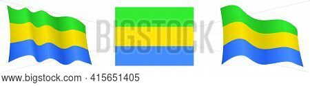 Flag Of Gabon In Static Position And In Motion, Fluttering In Wind In Exact Colors And Sizes, On Whi