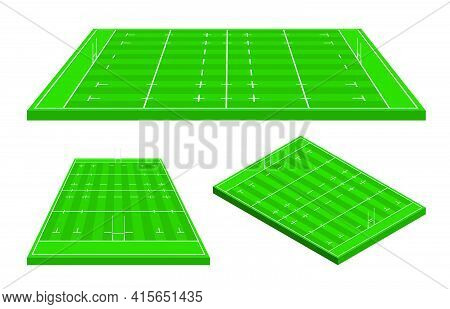Rugby Field Markings Lines, Rugby Playground In Isometric. Sports Ground For Active Recreation. Vect