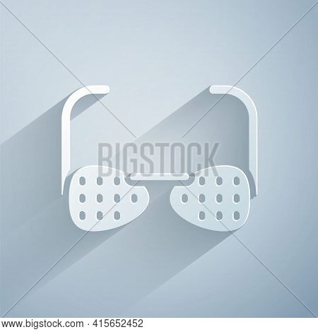 Paper Cut Glasses For The Blind And Visually Impaired Icon Isolated On Grey Background. Paper Art St