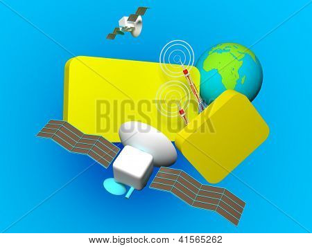 communication. 3d rendering image with clipping path poster