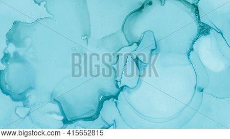 Watercolour Color Illustration. Pastel Flow Liquid. Blue Sea Fashion Abstraction. Teal Pastel Fluid