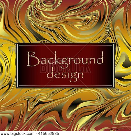 Design Templates For Social Media. Marble Texture Design, Colorful Marbling Surface, Golden Lines.