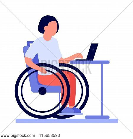 Employee Disabled Woman On Wheelchair Work Online On Laptop. Disabled Girl On Wheelchair Work Using