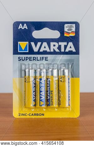 Pruszcz Gdanski, Poland - April 4, 2021: Varta Superlife Zinc-carbon Batteries.