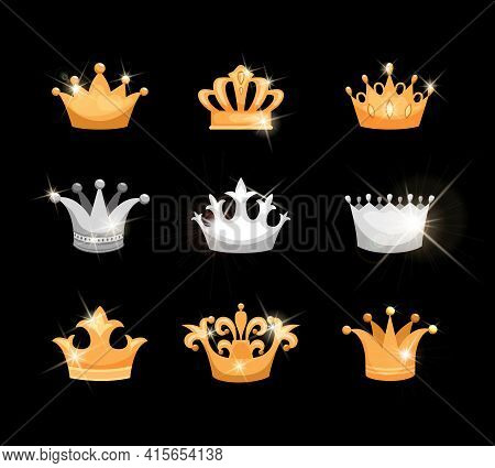 Gold And Silver Crowns Vector Icons Set Showing Nine Different Designs Suitable For Royalty Or Heral