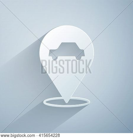 Paper Cut Location With Car Service Icon Isolated On Grey Background. Auto Mechanic Service. Repair