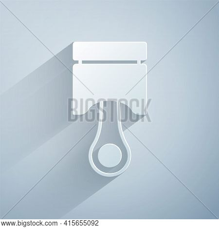 Paper Cut Engine Piston Icon Isolated On Grey Background. Car Engine Piston Sign. Paper Art Style. V