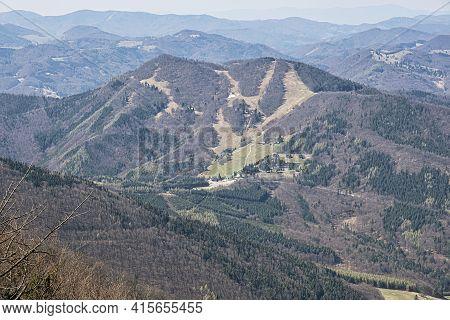 Fackov Saddle From Klak Hill, Little Fatra, Slovak Republic. Seasonal Natural Scene.