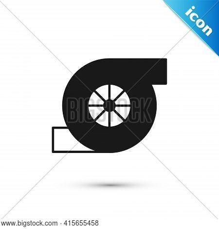 Grey Automotive Turbocharger Icon Isolated On White Background. Vehicle Performance Turbo. Turbo Com