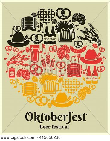 Oktoberfest Beer Festival Label In The German National Colors In A Round Design With German Beer In