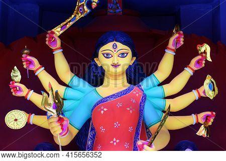Goddess Durga Idol Decorated At Puja Pandal In Kolkata, West Bengal, India. Durga Puja Is Biggest Re