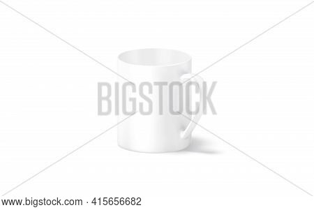 Blank Ceramic 11oz Mug With Handle Mockup Stand, Side View, 3d Rendering. Empty Porcelain Tankard Fo