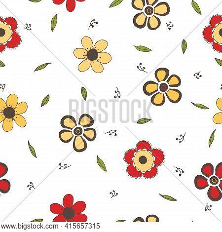 Seamless Pattern With Multicolored Hand Drawn Flowers On White Background. For Decoration, Invitatio