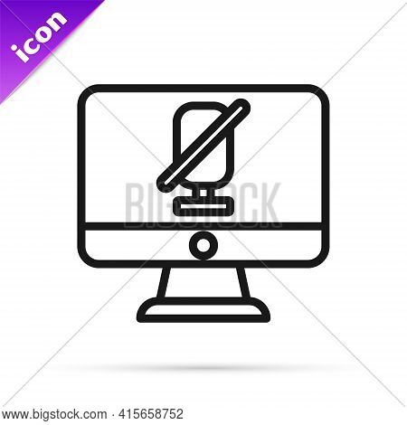 Black Line Mute Microphone On Computer Icon Isolated On White Background. Microphone Audio Muted. Ve