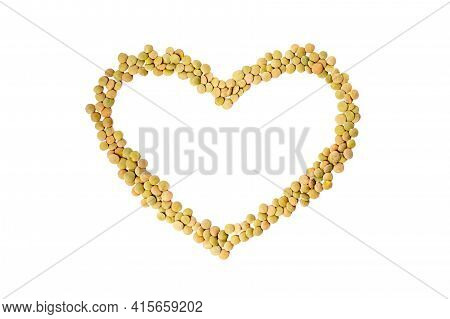 Lentil Grains In Heart Shape Isolated On White Background. Groats Dry Brown Lentils. Organic And Use