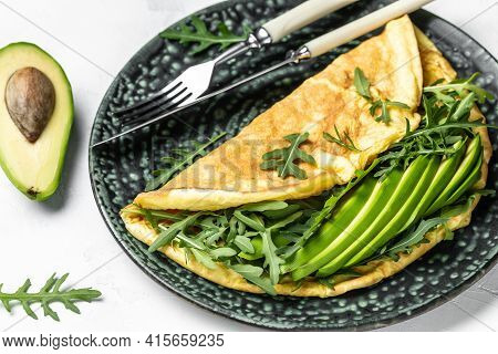 Spring Omelette With Green Vegetables Avocado And Arugula, Delicious Vegan, Vegetarian Breakfast, Fo