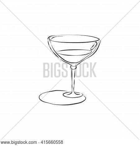 Wineglass With Vermouth. Drink Element. Contour Object. Retro Glassware Hand Draw, Design For Any Pu