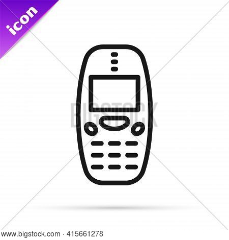 Black Line Old Vintage Keypad Mobile Phone Icon Isolated On White Background. Retro Cellphone Device