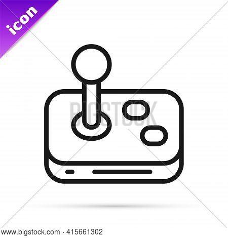 Black Line Joystick For Arcade Machine Icon Isolated On White Background. Joystick Gamepad. Vector
