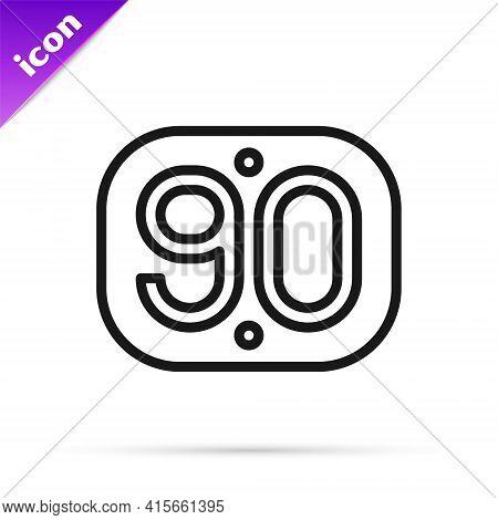 Black Line 90s Retro Icon Isolated On White Background. Nineties Poster. Vector