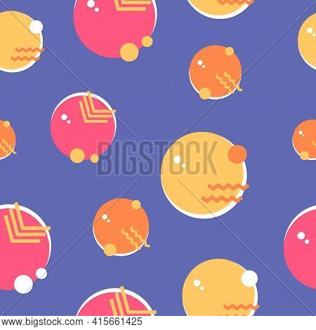 Bright Abstract Pattern With Colorful Circles. Seamless Texture. Vector Illustration.