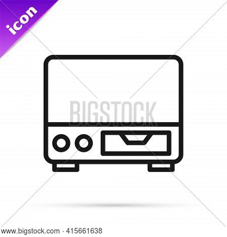 Black Line Old Video Cassette Player Icon Isolated On White Background. Old Beautiful Retro Hipster