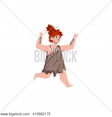 Running Primitive Cave Kid Girl Of Stone Age Wearing Clothes From Pelt Animals