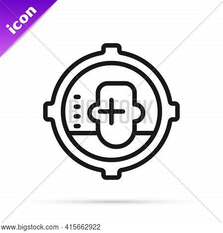 Black Line Headshot Icon Isolated On White Background. Sniper And Marksman Is Shooting On The Head O