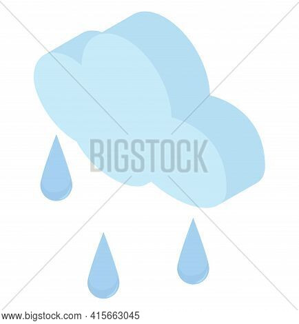 Isometric Raindrops And Blue Cloud Icon. Simple 3d Weather Illustration Isolated On White Background