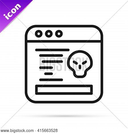 Black Line System Bug Concept Icon Isolated On White Background. Code Bug Concept. Bug In The System
