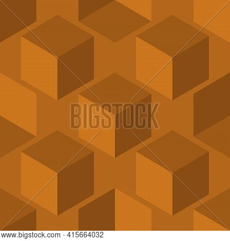 3d Cube Vector Seamless Pattern Background. Diagonal Rows Of Cubes Monochrome Ochre Brown Backdrop.