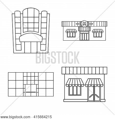 Vector Illustration Of Supermarket And Building Logo. Set Of Supermarket And City Stock Symbol For W