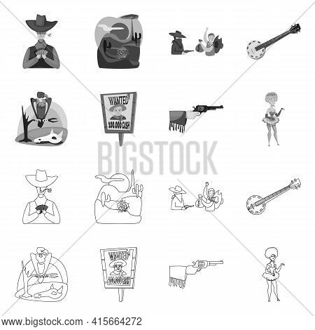 Vector Illustration Of Texas And History Symbol. Set Of Texas And Culture Stock Symbol For Web.
