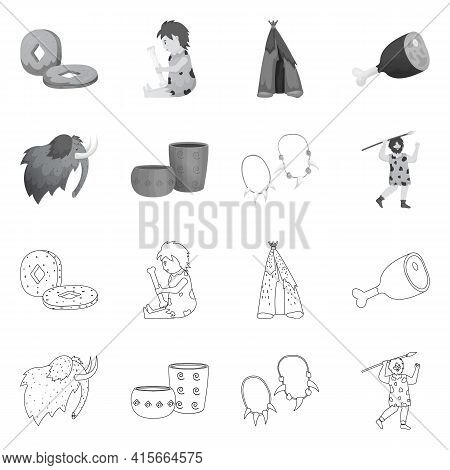 Vector Illustration Of Evolution And Neolithic Symbol. Collection Of Evolution And Primeval Vector I
