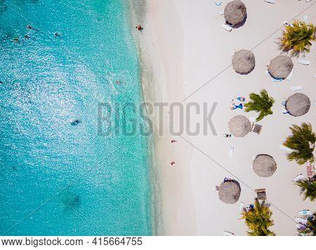 Cas Abou Beach On The Caribbean Island Of Curacao, Playa Cas Abou In Curacao Caribbean Tropical Whit