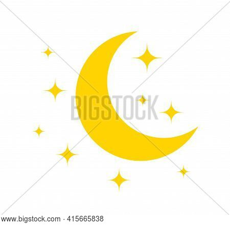 Moon And Star. Yellow Icon Of Moon For Night. Pictogram Of Crescent And Star. Logo For Sleep And Bab