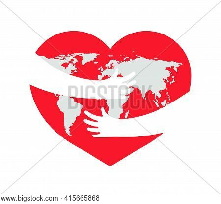 Earth In Heart. Save Planet. Hand With Love And Care Hug Of World. Embrace Of Earth. Day Of Globe. I