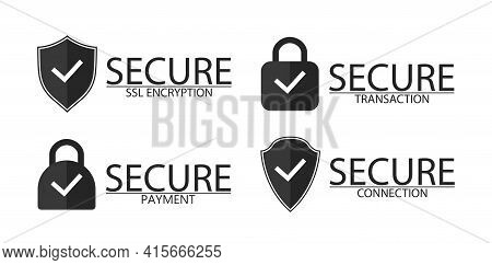 Ssl, Encryption, Connection And Transaction Icon. Logo Of Secure Ssl And Encryption. Lock For Secure