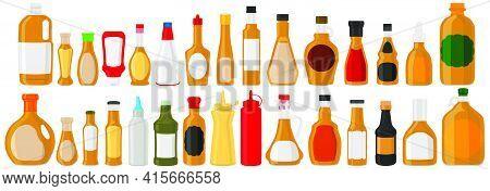 Illustration On Theme Big Kit Varied Glass Bottles Filled Thick Sauce Mustard. Bottles Consisting Fr